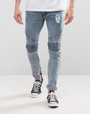Loyalty & Faith Синие зауженные байкерские джинсы с эффектом кислотной стирки. Цвет: синий