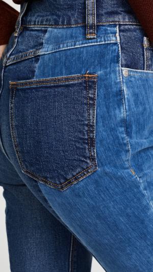 La Vie Patched Velvet & Denim Jeans Rebecca Taylor