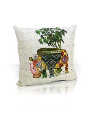Декоративная подушка Rhino Kauffort. Цвет: зеленый, желтый, кремовый