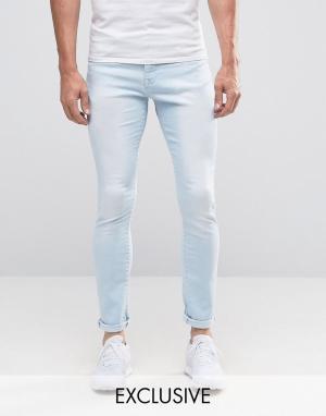 Brooklyn Supply Co. Выбеленные потертые джинсы Co Hunters. Цвет: синий