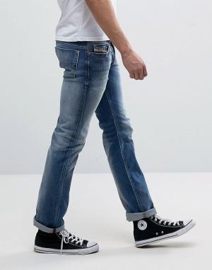 Diesel Прямые выбеленные джинсы с потертостями Safado 84DD. Цвет: синий