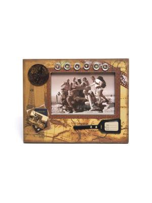 Фоторамка декорированная HomeMaster. Цвет: черный, коричневый, белый