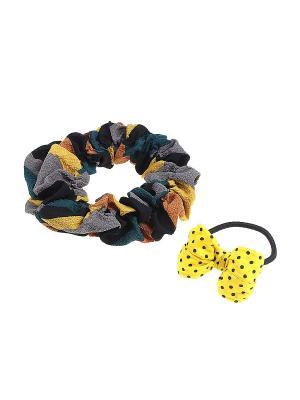 Комплект резинок для волос Gusachi. Цвет: желтый, черный, зеленый, серый