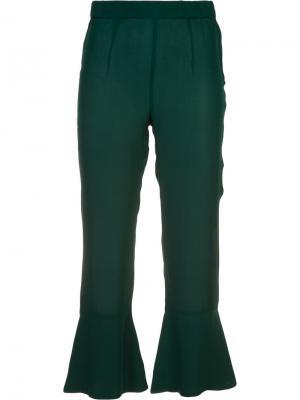 Укороченные расклешенные брюки Pandora Piamita. Цвет: зелёный