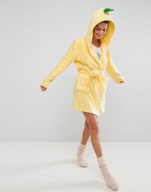 ASOS Флисовый стеганый халат ананас. Цвет: желтый