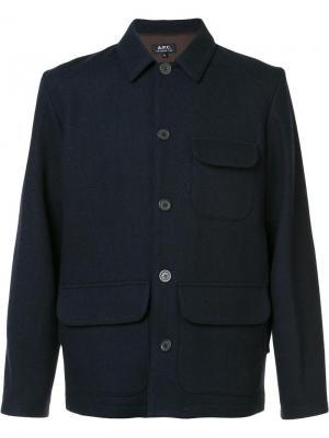 Куртка с накладными карманами A.P.C.. Цвет: синий