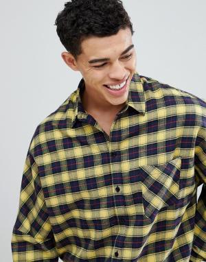 BoohooMAN Oversize-рубашка в желтую клетку. Цвет: желтый