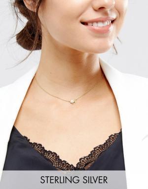 ASOS Ожерелье из позолоченного серебра с подвеской Рыбы. Цвет: медный