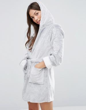 Loungeable Флисовый халат с капюшоном. Цвет: серый