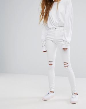 Dr Denim Рваные супероблегающие джинсы с классической талией Lexy. Цвет: белый