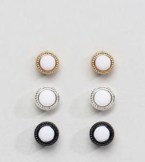 Chained & Able Комплект серьг с камнями. Цвет: белый