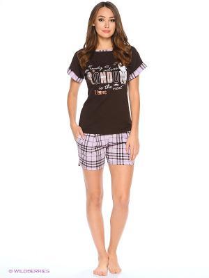 Комплект домашней одежды (футболка, шорты) HomeLike. Цвет: коричневый