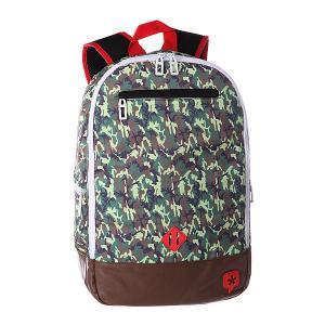 Рюкзак городской  Duckdown Small Camo/Red TrueSpin. Цвет: зеленый,коричневый