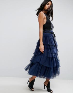 ASOS Ярусная юбка миди для выпускного из тюля с поясом. Цвет: темно-синий