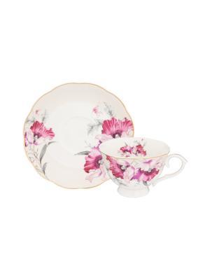 Чайная пара Серебристый мак Elan Gallery. Цвет: розовый, белый