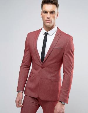 ASOS Красный пиджак скинни. Цвет: красный