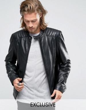 Black Phoenix Черная кожаная байкерская куртка на молнии. Цвет: черный