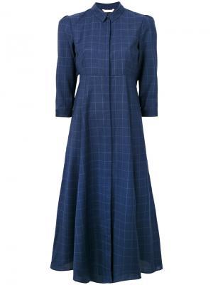 Приталенное расклешенное платье-рубашка Xacus. Цвет: синий