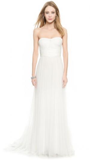 Вечернее платье Emanuela Sweetheart Monique Lhuillier. Цвет: белый шелк