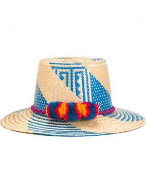Шляпа с помпонами Yosuzi. Цвет: телесный