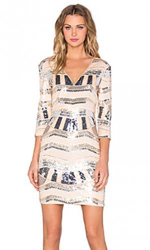 Мини-платье с блестками rise of dawn Lumier. Цвет: персиковый