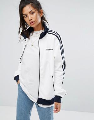 Adidas Темно-синяя/белая спортивная куртка Originals. Цвет: белый