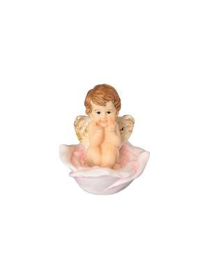 Фигурка декоративная Ангелочек на розе Elan Gallery. Цвет: бежевый, розовый, золотистый, белый
