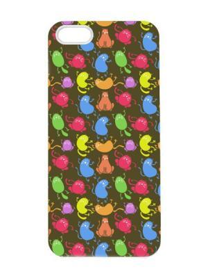 Чехол для iPhone 5/5s Котята-колбасята Арт. IP5-083 Chocopony. Цвет: темно-коричневый, коричневый, розовый, желтый, синий, зеленый