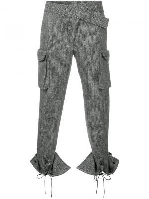Брюки со шнуровкой на манжетах Monse. Цвет: серый