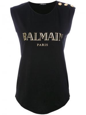 Logo printed tank top Balmain. Цвет: чёрный