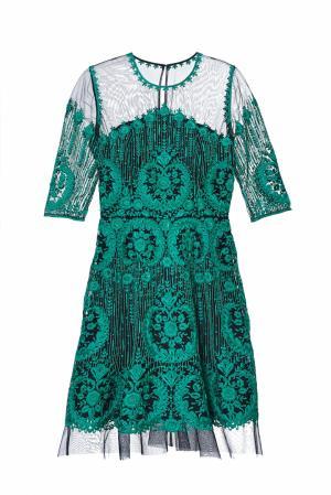 Шелковое платье Naeem Khan. Цвет: изумрудно-зеленый
