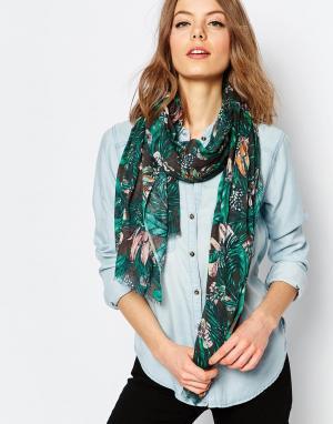 Becksondergaard Oversize-шарф с тропическим принтом. Цвет: изумруд