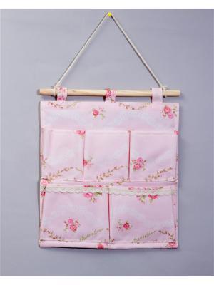 Органайзер с 5 карманами настенный Русские подарки. Цвет: розовый, белый
