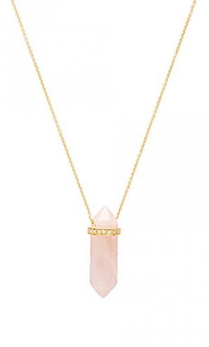 Ожерелье с подвесом из опалита Jacquie Aiche. Цвет: розовый