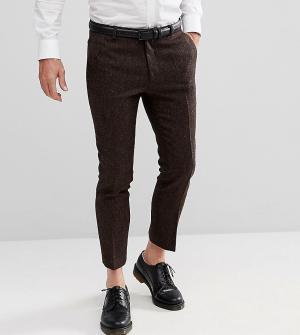 Heart & Dagger Укороченные брюки скинни с узором в елочку. Цвет: коричневый
