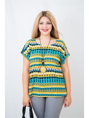 Блузка BALSAKO. Цвет: бирюзовый, желтый