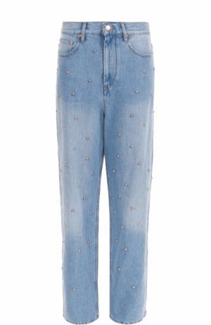 Широкие джинсы с потертостями и жемчужной отделкой Isabel Marant Etoile. Цвет: голубой