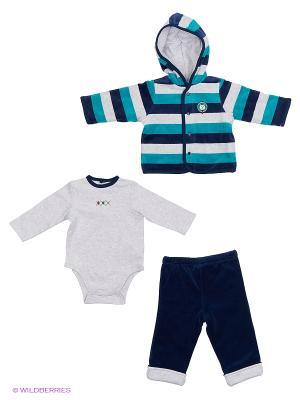 Комплект из 3-х предметов Преппи: жакет, штанишки и боди. Little Me. Цвет: белый, синий, зеленый