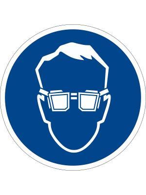 Наклейка информационная Работать в защитных очках (2 шт.) Оранжевый Слоник. Цвет: синий