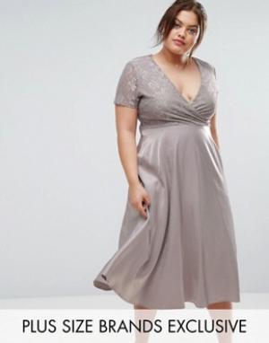 Truly You кружевное платье миди с пышной юбкой. Цвет: серый