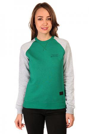 Толстовка свитшот женская  Script Logo 4v Crewneck Green/Grey Melange Skills. Цвет: зеленый,серый