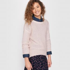 Пуловер удлиненный сзади на 10-16 лет La Redoute Collections. Цвет: розовый