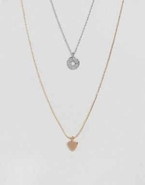 DesignB London Набор из 2 ожерелий (серебристый/золотистый) с компасом и стрелой Desi. Цвет: мульти