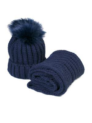 Комплект шапка и снуд Mitya Veselkov. Цвет: синий