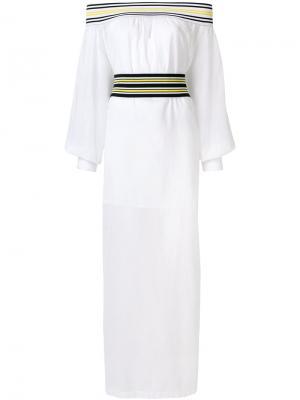 Платье макси с открытыми плечами Michel Klein. Цвет: белый