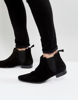 New Look Черные замшевые ботинки челси. Цвет: черный