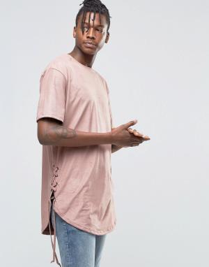 Hand of God Футболка из ткани под замшу. Цвет: розовый