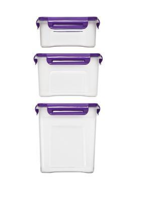 Комплект контейнеров Лаванда для СВЧ. Объем: 0,75 л., 1,1л., 1,8л. Полимербыт. Цвет: белый, сиреневый