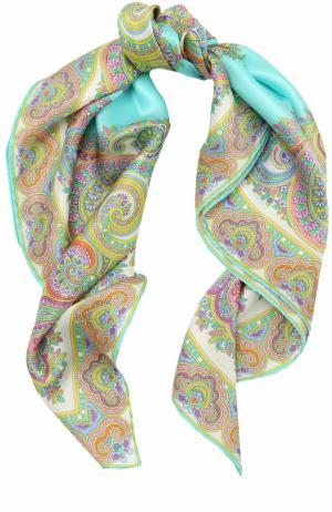 Шелковый платок с принтом Michele Binda. Цвет: бирюзовый