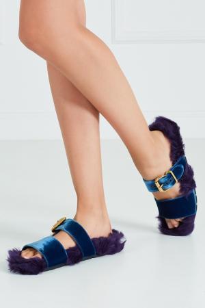 Меховые сандалии Prada. Цвет: синий